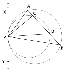 Two circles touch internally at point P
