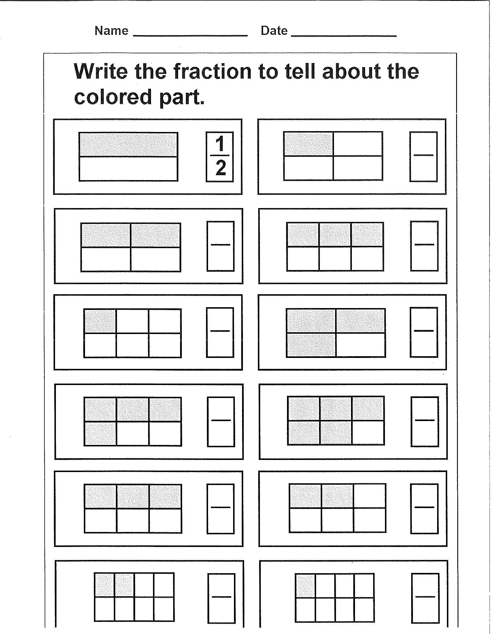 Write the fraction to tell about the colored part